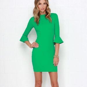 Sleeve Your Mark Green Bodycon Dress - Small